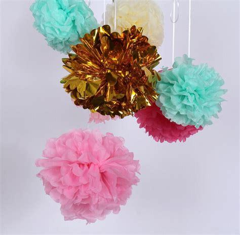15 Cm5 Tissue Paper Pom Poms Flower Balls Bunga 6 inch 15cm metallic pom poms mylar tissue paper foil flower silver gold green blue