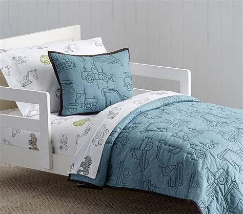 construction toddler bedding braden construction quilted toddler bedding pottery barn