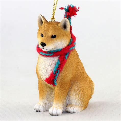 shiba inu dog christmas ornament scarf figurine ebay