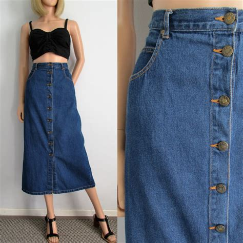 high waisted denim skirt blue jean maxi length