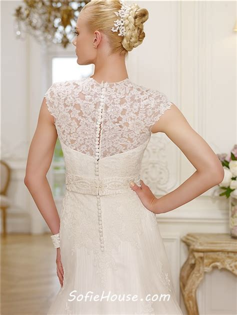 beaded wedding capelet a line high neck cap sleeve lace modest wedding dress with
