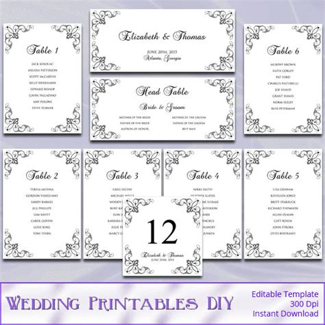 wedding seating chart template printable printable wedding seating chart template by