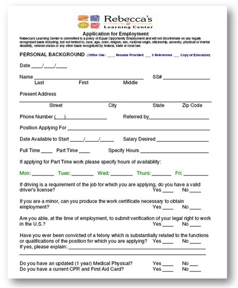 printable job applications for daycare sle employment application michigan employment