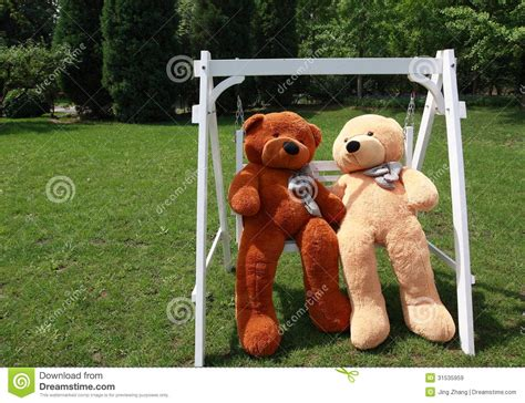 bear swing romantic teddy bears royalty free stock images image