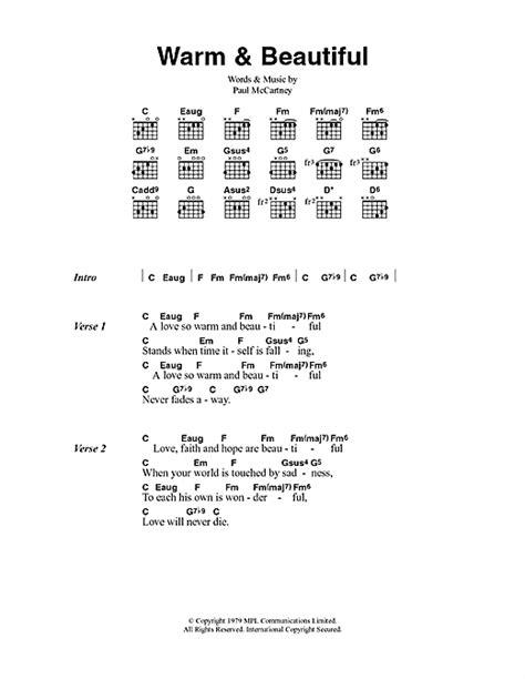 lyrics mccartney warm beautiful sheet by paul mccartney wings