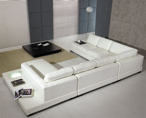 white modern leather sectional sofa  light
