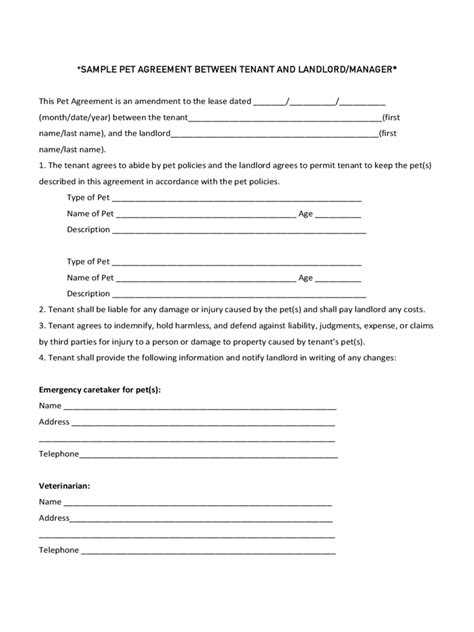 Sle Agreement Letter Between Tenant And Landlord Pet Agreement Form 5 Free Templates In Pdf Word Excel