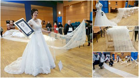 world s world s longest wedding dress train could almost cover