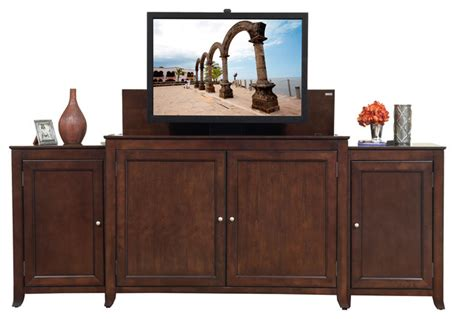 monterey tv lift cabinet with side cabinets for flat