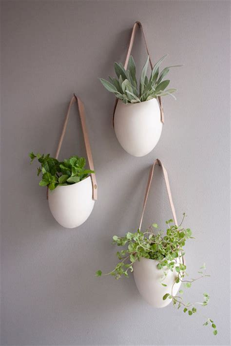hanging wall planters indoor set of 3 porcelain and leather hanging containers by fashioned by modern indoor pots and