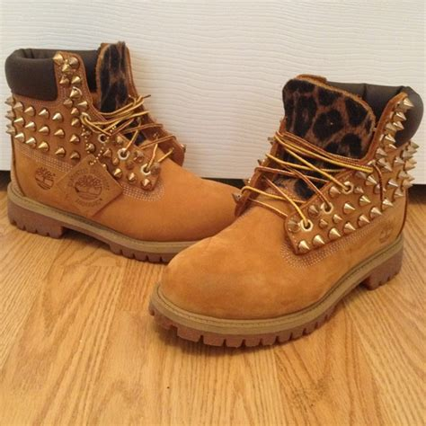 timbs shoes 28 timberland boots reserved studded and leopard