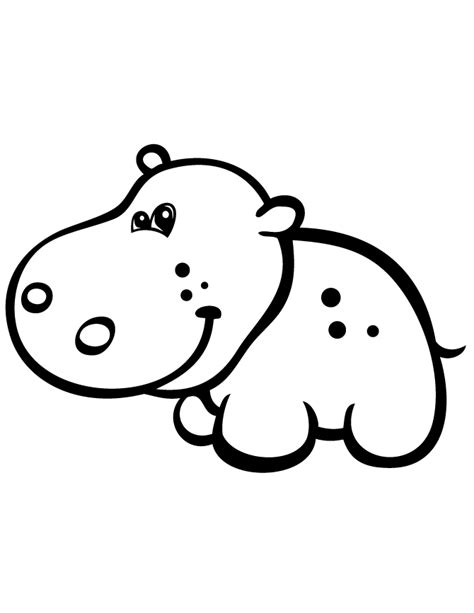cute simple coloring pages gallery easy hippo drawings