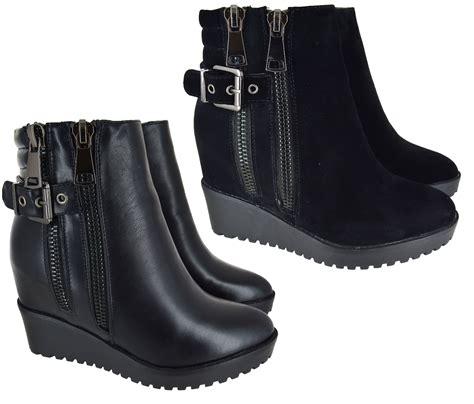 Wedge Mid Calf Boots womens black wedge heel ankle mid calf high zip up