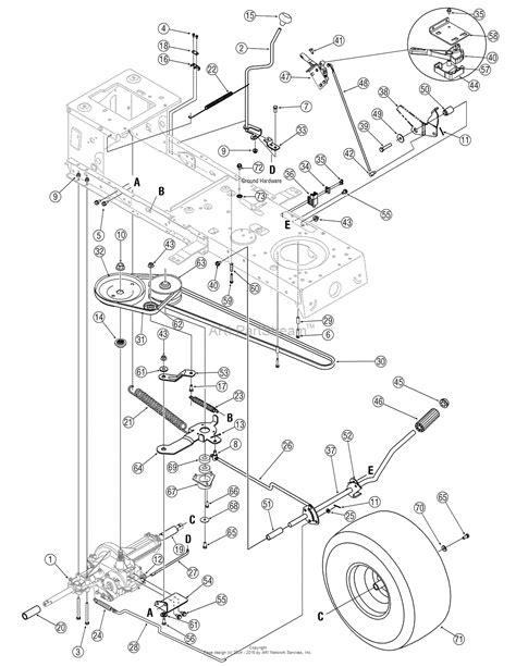 troy bilt pony mower parts diagram troy bilt 13an77tg766 pony 2006 parts diagram for drive
