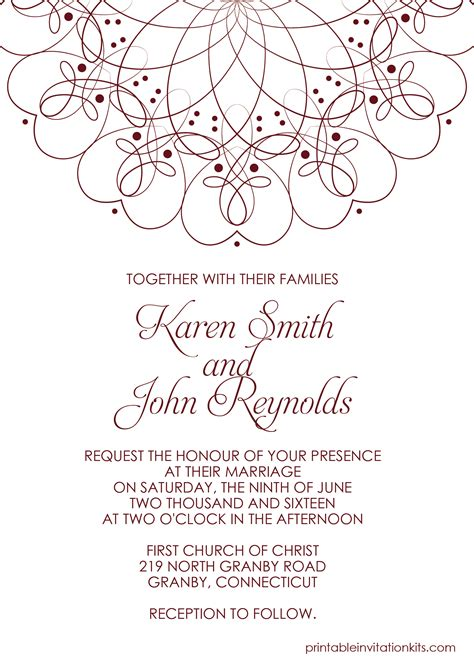 Spiral Border Invitation Free Pdf Template For Weddings And Events Wedding Invitation Pdf Invitations Templates