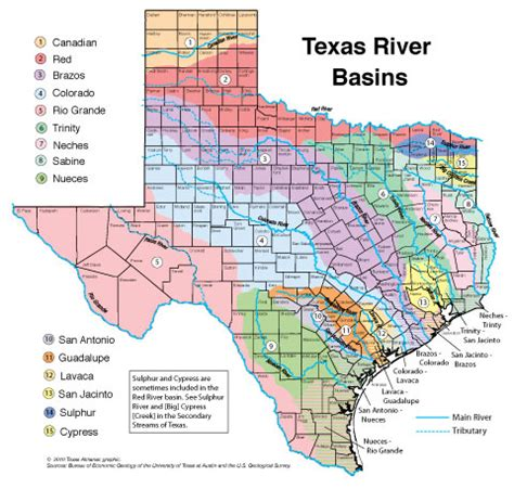 river map of texas texas watershed map my