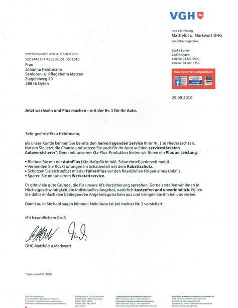 Brief Schreiben Muster Versicherung Vgh Autoplus Versicherung F 252 R Eine 90 J 228 Hrige 187 Mutter September Zudem Brief Jahres