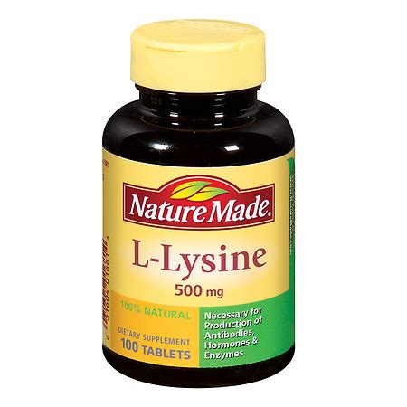 supplement l lysine nature made l lysine 500 mg dietary supplement tablets