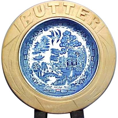 blue willow butter dish  hand carved wooden blue