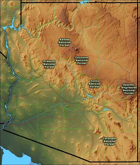 arizona national forest map national forests in arizona