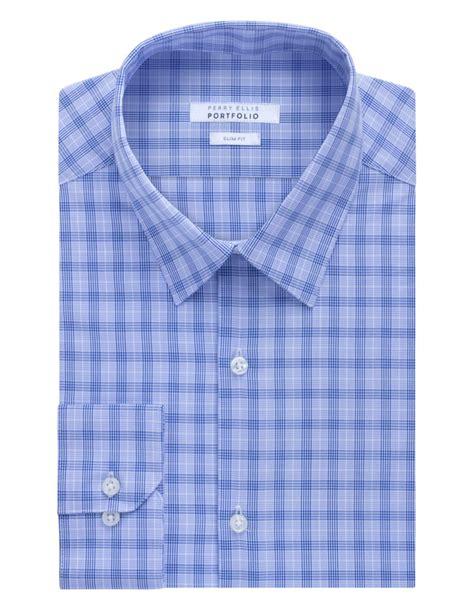 Plaid Wringkle Dress perry ellis wrinkle free plaid dress shirt in blue for