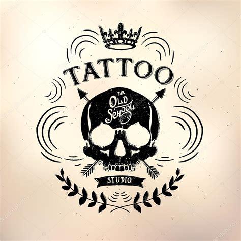 tattoo old school logo tattoo old school studio skull stock vector