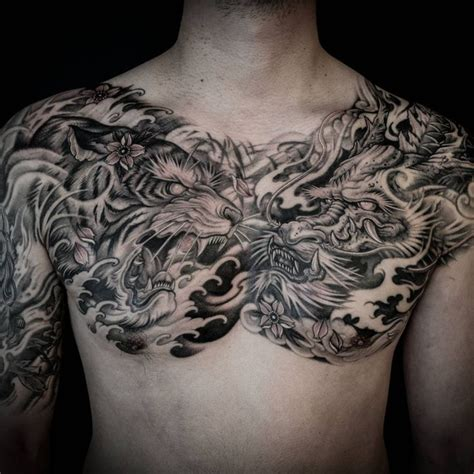 chest piece tattoo for men tiger and chest