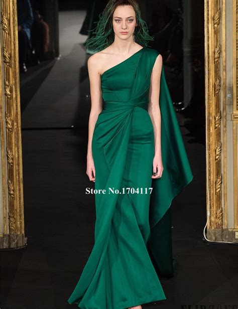 cocktail jurken green elegant one shoulder evening party dress 2016 fashion