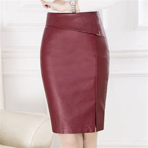 Highwaist Button Black Office Skirt dwayne pu leather skirt black pencil skirt high
