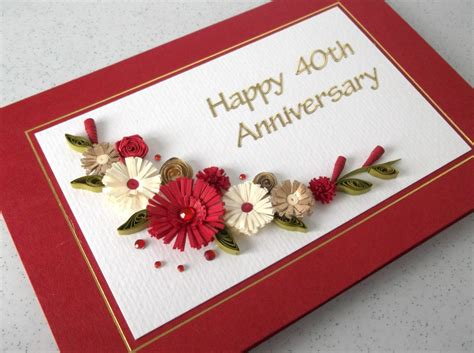 Wedding Anniversary Handmade Cards - quilled 40th ruby wedding anniversary card handmade paper