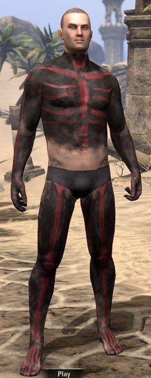 eso fashion red skeleton body paint elder scrolls