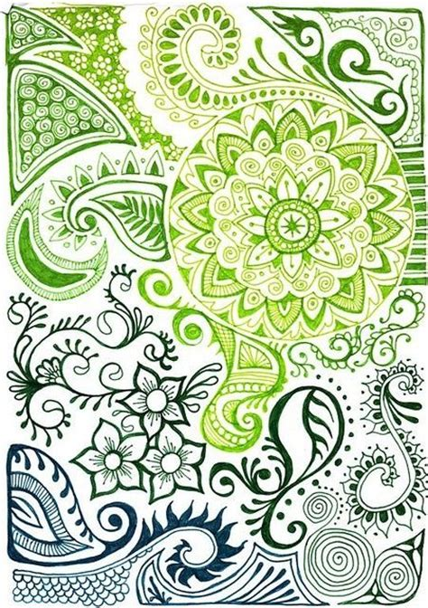 doodle pattern love beautiful zentangle print with indian henna designs