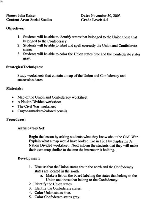 lesson plan template for social studies index of mlte thematic units not done civil war
