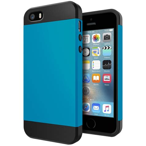 slim armour shockproof apple iphone se 5s blue