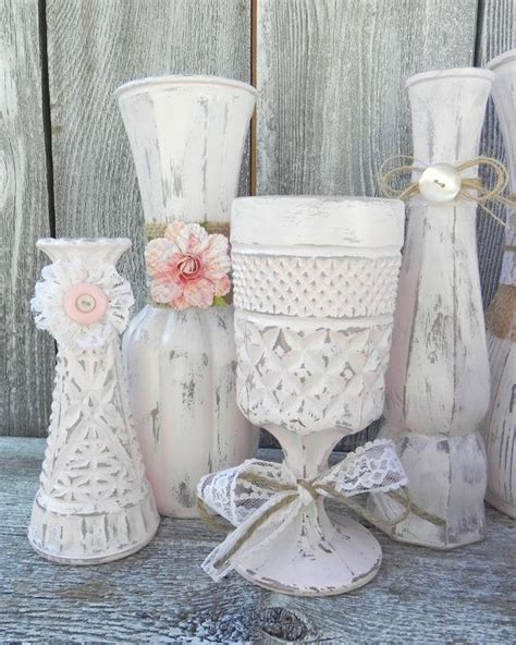 burlap and lace pink shabby chic vase collection wedding