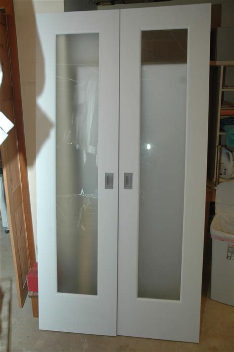 Handmade Closet Doors W Frosted Glass Panels By Wooden It Closet With Glass Doors