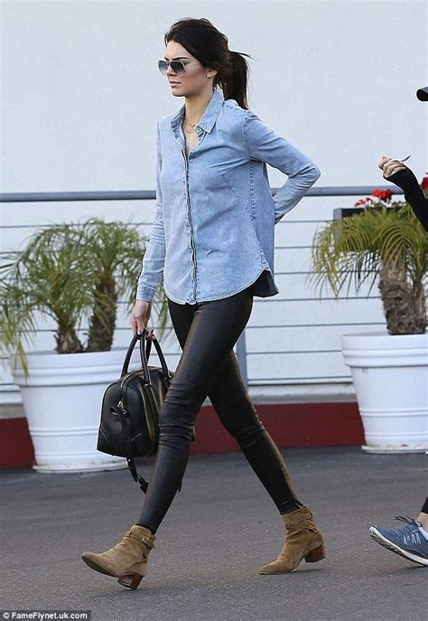 kendall jenner wearing black leather brown suede