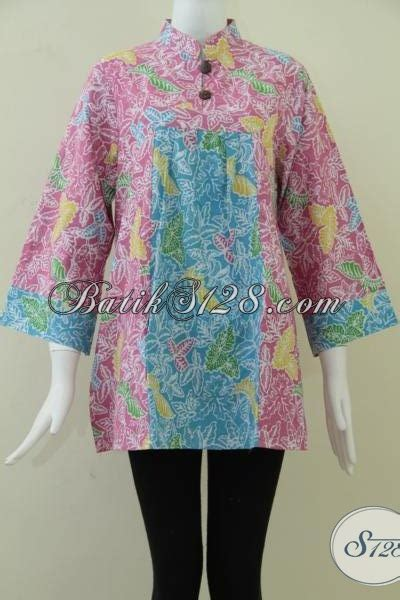 Blus Batik Biru Xl busana batik wanita dua warna blus batik paduan warna pink