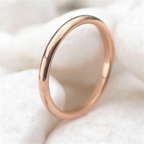 2mm half round rose gold wedding ring wedding bands