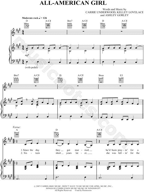all american girl carrie underwood guitar chords carrie underwood quot all american girl quot sheet music in a
