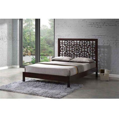 circle platform bed greenway circle patterns engraved brown wooden modern