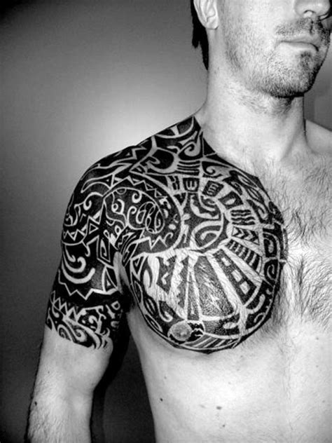 tribal tattoo on chest and shoulder chest shoulder tribal tattoos for cool tattoos