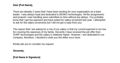 salary increases letter formats samples  word