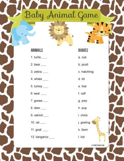 printable baby animal name game baby shower games animal mother to baby match up game