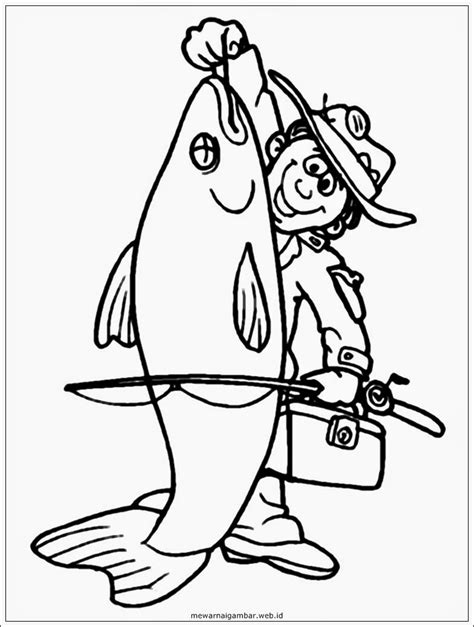 mewarnai gambar profesi nelayan mewarnai gambar