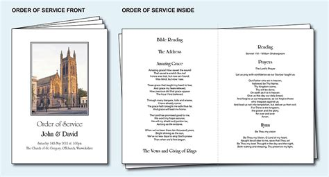 church order of service template personalised wedding order of service day cover booklet