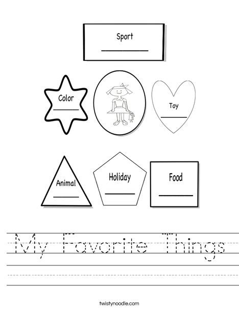 Home Design Books Pdf by My Favorite Things Worksheet Twisty Noodle