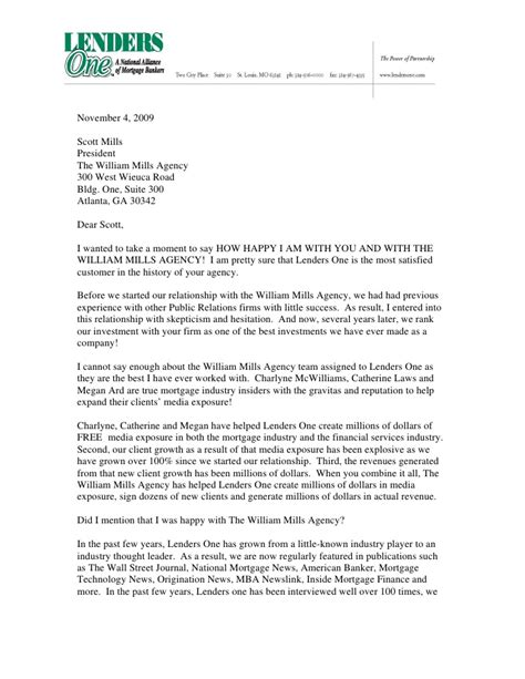 Mortgage Broker Letter To Realtor William Mills Agency Thank You Letter