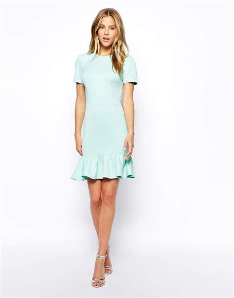 2 In 1 Peplum asos pencil dress with peplum hem in scuba in green lyst