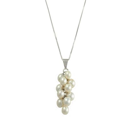 lustrous aaa white freshwater pearl cluster sterling